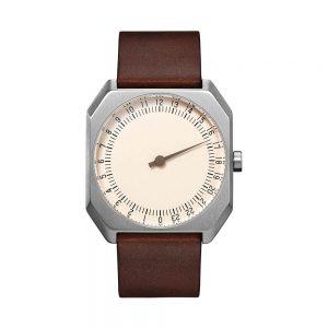 slow-Jo-17-Swiss-one-hand-watch-Silver-dark-brown-300x300